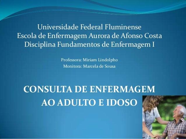 Universidade Federal Fluminense Escola de Enfermagem Aurora de Afonso Costa Disciplina Fundamentos de Enfermagem I Profess...