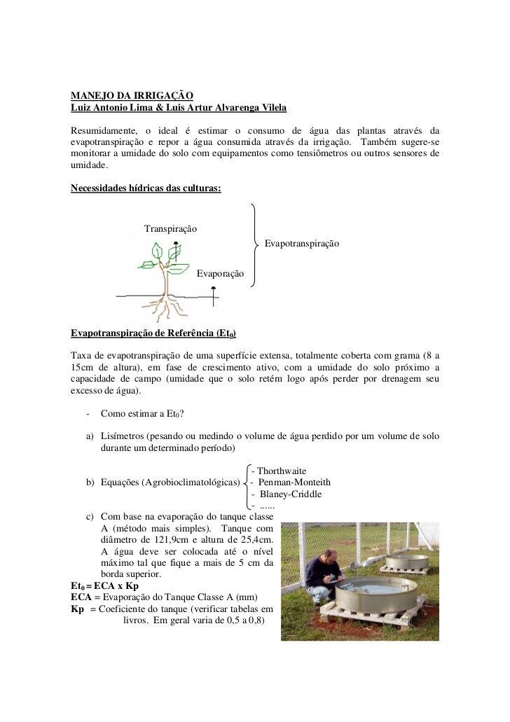 MANEJO DA IRRIGAÇÃO Luiz Antonio Lima & Luis Artur Alvarenga Vilela  Resumidamente, o ideal é estimar o consumo de água da...