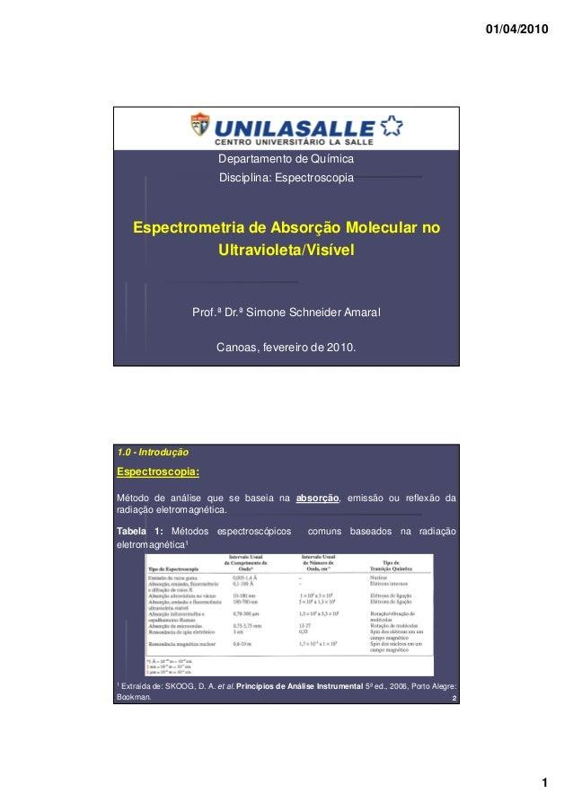 01/04/2010 1 Departamento de Química Disciplina: Espectroscopia Espectrometria de Absorção Molecular no Ultravioleta/Visív...