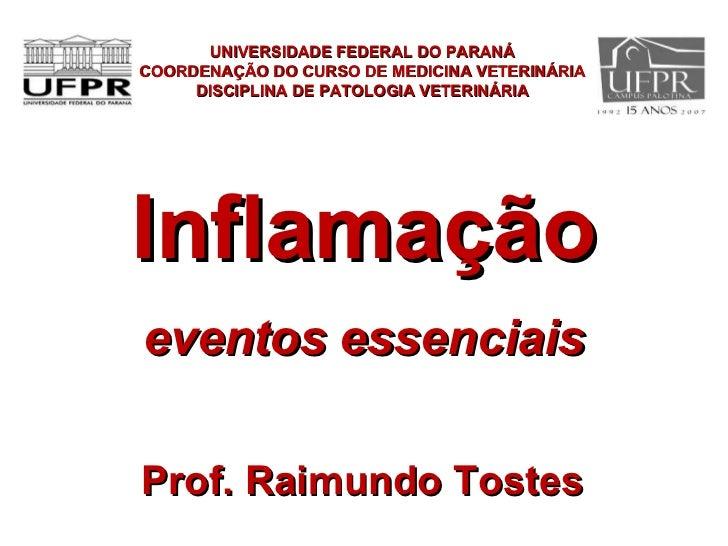 Inflamação eventos essenciais UNIVERSIDADE FEDERAL DO PARANÁ COORDENAÇÃO DO CURSO DE MEDICINA VETERINÁRIA DISCIPLINA DE PA...