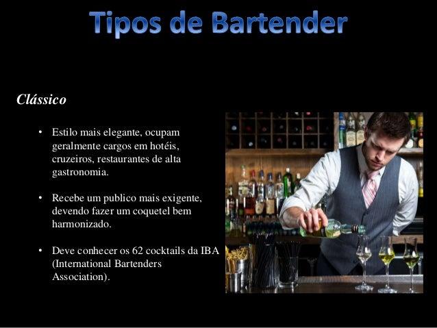 Clássico • Estilo mais elegante, ocupam geralmente cargos em hotéis, cruzeiros, restaurantes de alta gastronomia. • Recebe...
