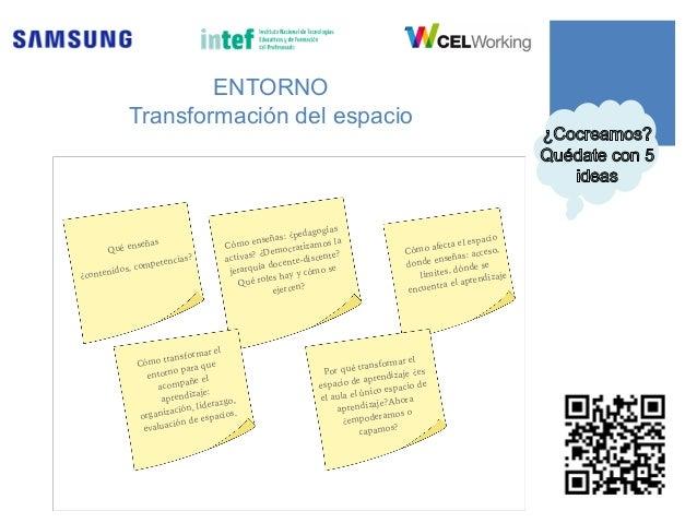 ENTORNO Transformación del espacio Qué enseñas ¿contenidos, competencias? Cómo enseñas: ¿pedagogías activas? ¿Democratizam...