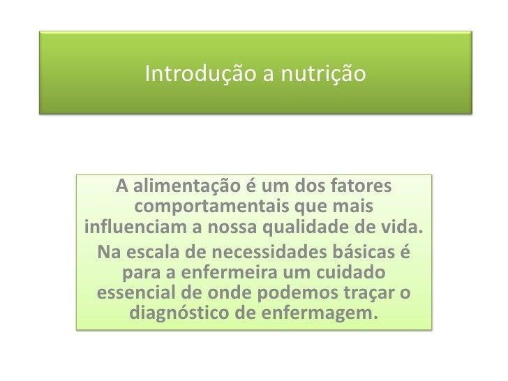 Aula De NutriçãO IntroduçãO