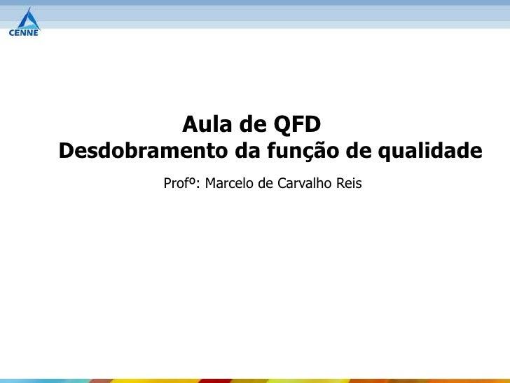 Aula de QFDDesdobramento da função de qualidade        Profº: Marcelo de Carvalho Reis