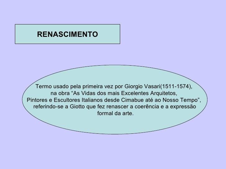 """RENASCIMENTO Termo usado pela primeira vez por Giorgio Vasari(1511-1574),  na obra """"As Vidas dos mais Excelentes Arquiteto..."""