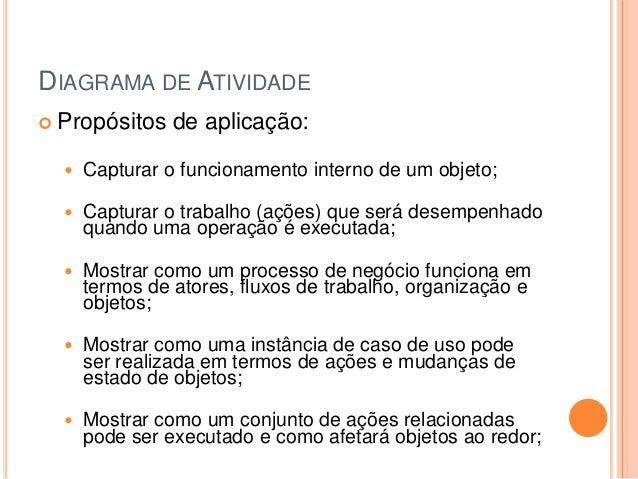 DIAGRAMA DE ATIVIDADE Propósitos de aplicação: Capturar o funcionamento interno de um objeto; Capturar o trabalho (açõe...