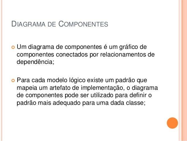 DIAGRAMA DE COMPONENTES Um diagrama de componentes é um gráfico decomponentes conectados por relacionamentos dedependênci...