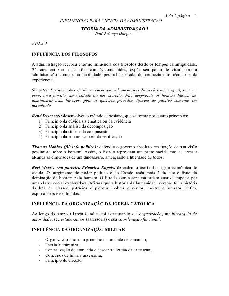 Aula 2 página   1                INFLUÊNCIAS PARA CIÊNCIA DA ADMINISTRAÇÃO                           TEORIA DA ADMINISTRAÇ...
