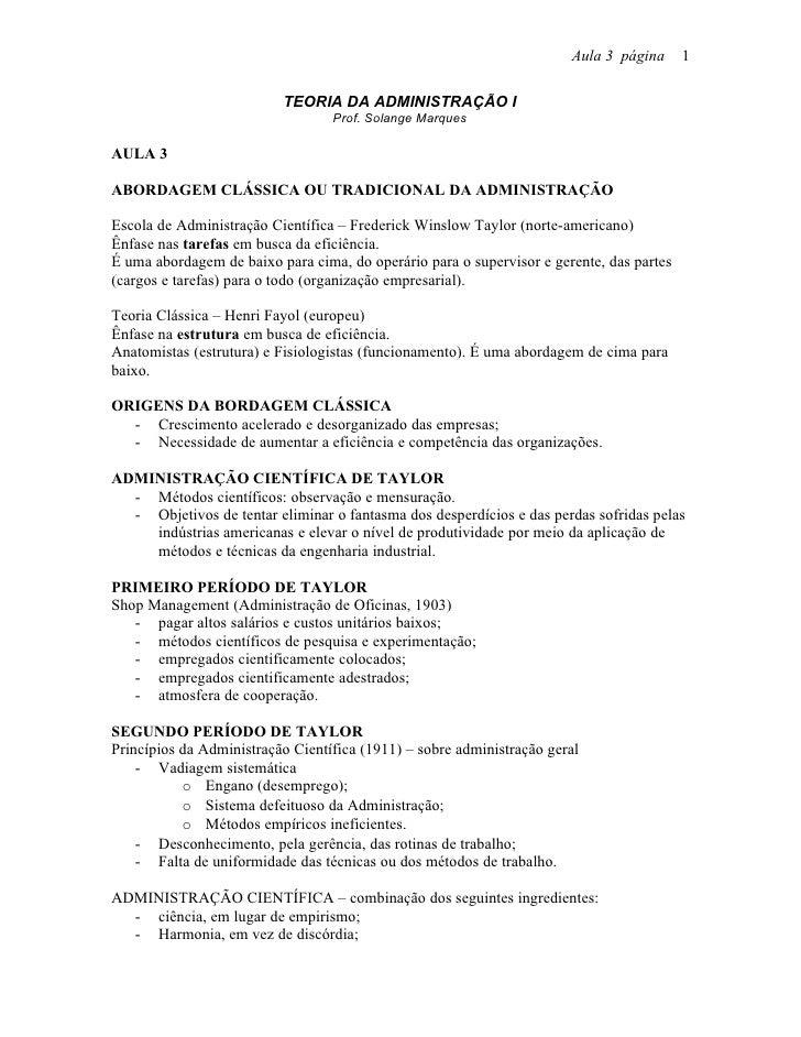 Aula 3 página      1                            TEORIA DA ADMINISTRAÇÃO I                                   Prof. Solange ...