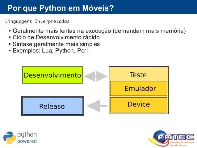 Por que Python em Móveis? Linguagens Interpretadas ● Geralmente mais lentas na execução (demandam mais memória) ● Ciclo de...