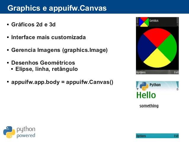 Graphics e appuifw.Canvas  Gráficos 2d e 3d  Interface mais customizada  Gerencia Imagens (graphics.Image)  Desenhos G...