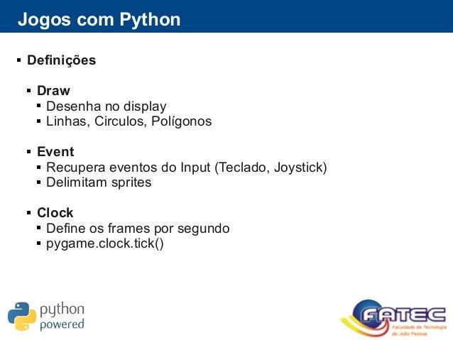 Jogos com Python  Definições  Draw  Desenha no display  Linhas, Circulos, Polígonos  Event  Recupera eventos do Inpu...