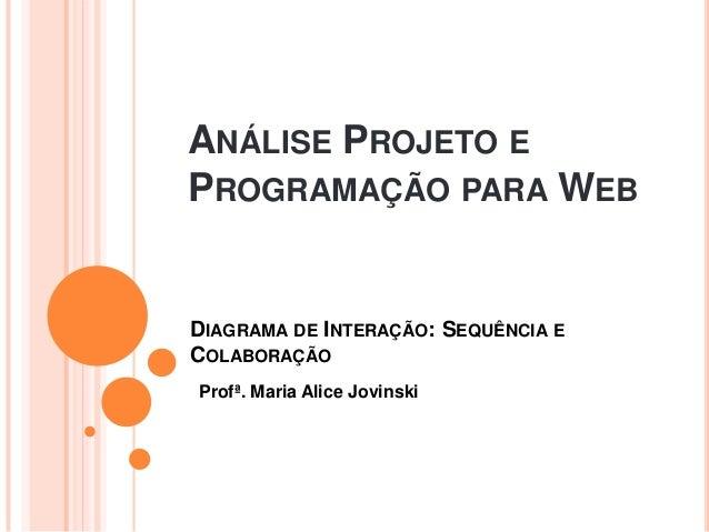 ANÁLISE PROJETO EPROGRAMAÇÃO PARA WEBProfª. Maria Alice JovinskiDIAGRAMA DE INTERAÇÃO: SEQUÊNCIA ECOLABORAÇÃO