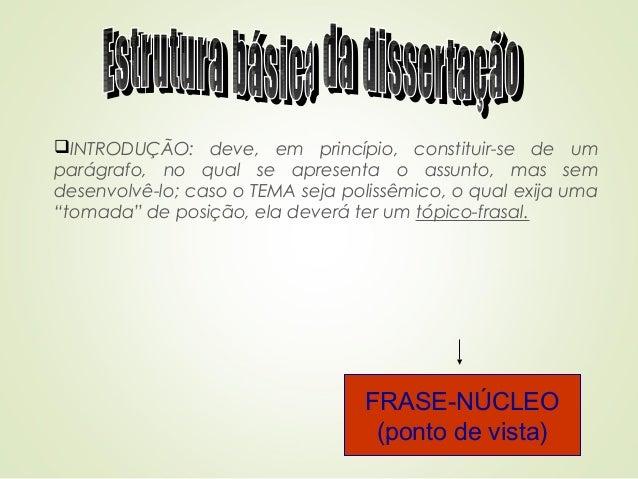 INTRODUÇÃO: deve, em princípio, constituir-se de um parágrafo, no qual se apresenta o assunto, mas sem desenvolvê-lo; cas...