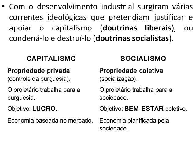• Com o desenvolvimento industrial surgiram várias  correntes ideológicas que pretendiam justificar e  apoiar o capitalism...