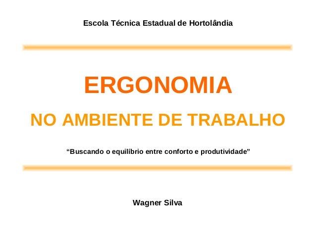 """ERGONOMIA NO AMBIENTE DE TRABALHO Wagner Silva Escola Técnica Estadual de Hortolândia """"Buscando o equilíbrio entre confort..."""