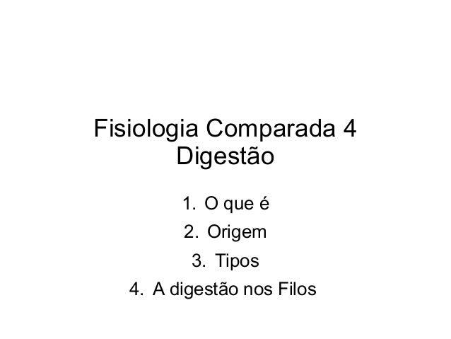 Fisiologia Comparada 4  Digestão  1. O que é  2. Origem  3. Tipos  4. A digestão nos Filos