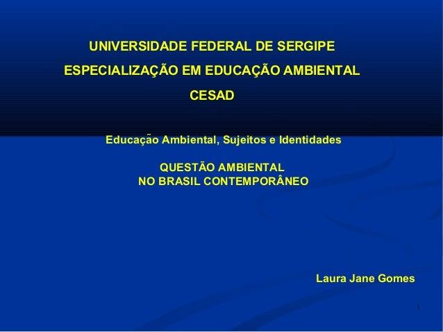 1 Educacão Ambiental, Sujeitos e Identidadeş QUESTÃO AMBIENTAL NO BRASIL CONTEMPORÂNEO Laura Jane Gomes UNIVERSIDADE FED...