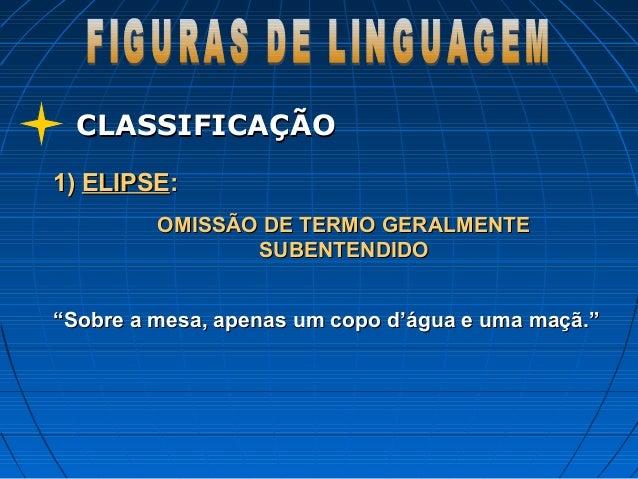 CLASSIFICAÇÃOCLASSIFICAÇÃO 1)1) ELIPSEELIPSE:: OMISSÃO DE TERMO GERALMENTEOMISSÃO DE TERMO GERALMENTE SUBENTENDIDOSUBENTEN...