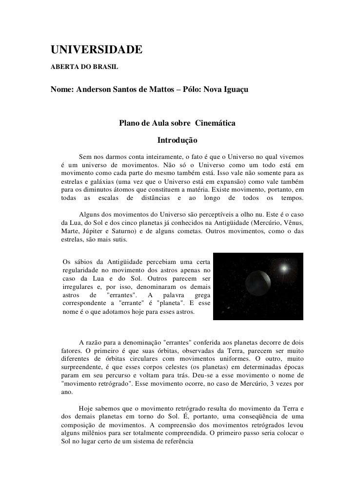 UNIVERSIDADE ABERTA DO BRASIL   Nome: Anderson Santos de Mattos – Pólo: Nova Iguaçu                         Plano de Aula ...