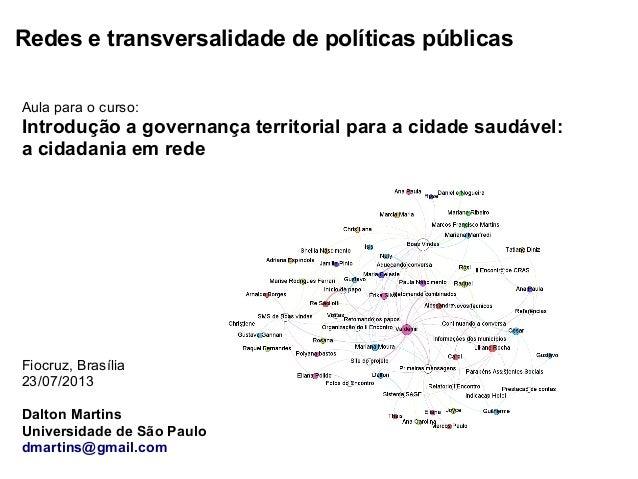 Redes e transversalidade de políticas públicas Aula para o curso: Introdução a governança territorial para a cidade saudáv...