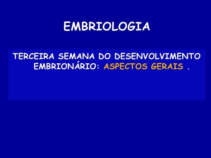EMBRIOLOGIATERCEIRA SEMANA DO DESENVOLVIMENTO    EMBRIONÁRIO: ASPECTOS GERAIS .