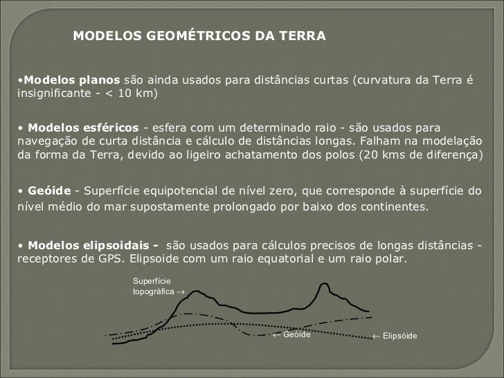 <ul><li>Modelos planos  são ainda usados para distâncias curtas (curvatura da Terra é insignificante - < 10 km) </li></ul>...