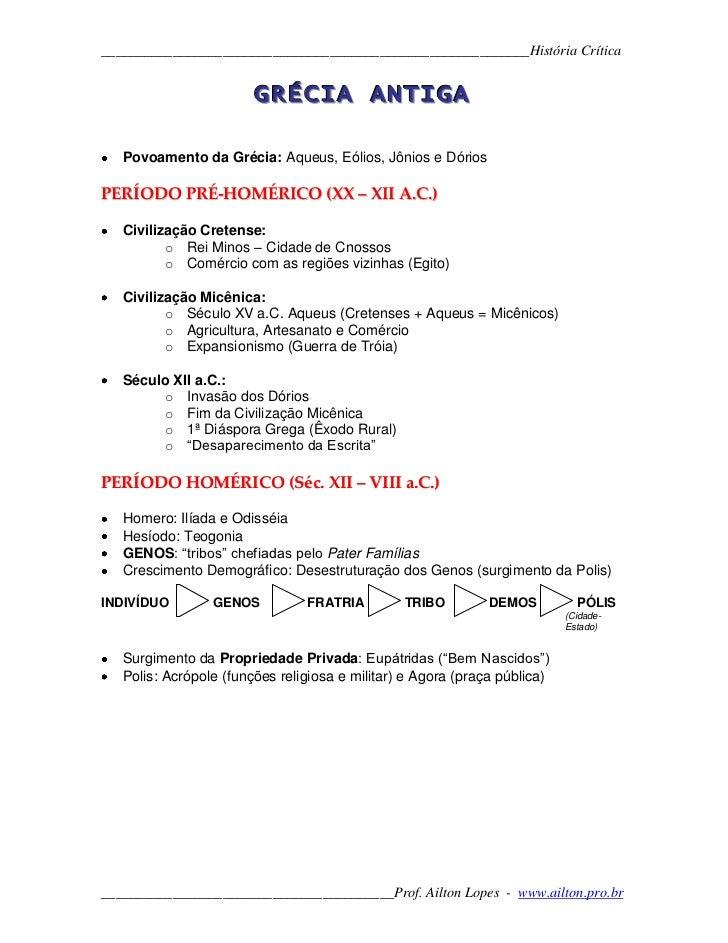 GRÉCIA ANTIGA<br />Povoamento da Grécia: Aqueus, Eólios, Jônios e Dórios<br />PERÍODO PRÉ-HOMÉRICO (XX – XII A.C.)<br />Ci...