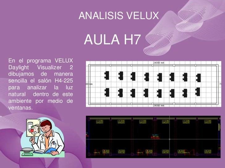 ANALISIS VELUX                           AULA H7En el programa VELUXDaylight    Visualizer 2dibujamos de manerasencilla el...