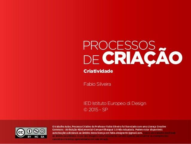 Processos de Criação • | IED | SP | BR | Fabio Silveira Processos&Criatividade1 criação processos de Criatividade Fabio Si...