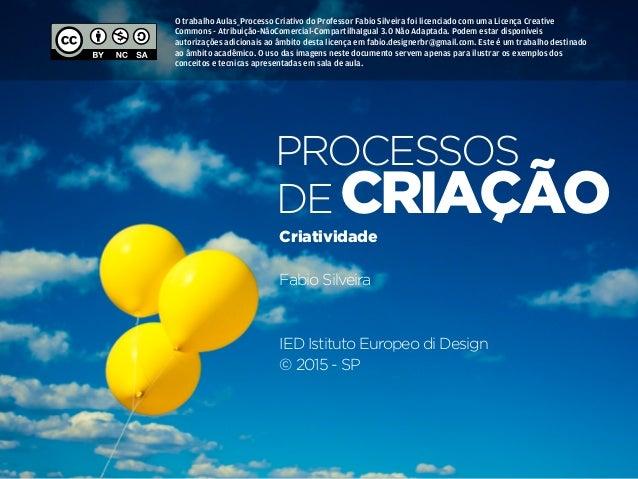 Processos de Criação • | IED | SP | BR | Fabio Silveira Processos&Criatividade56 criação processos de Criatividade Fabio S...