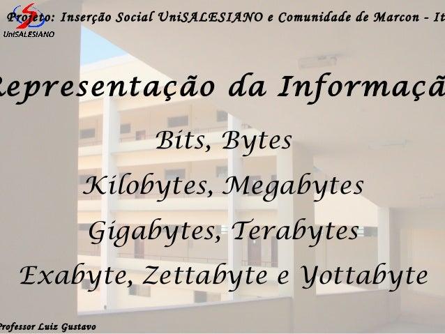 Professor Luiz GustavoProjeto: Inserção Social UniSALESIANO e Comunidade de Marcon - ItBits, BytesKilobytes, MegabytesGiga...