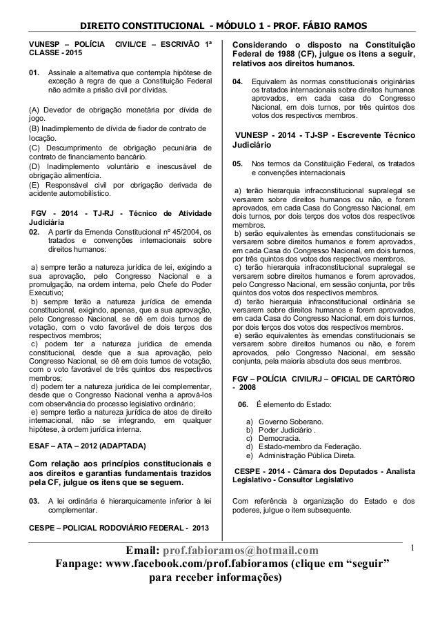 DIREITO CONSTITUCIONAL - MÓDULO 1 - PROF. FÁBIO RAMOS Email: prof.fabioramos@hotmail.com Fanpage: www.facebook.com/prof.fa...