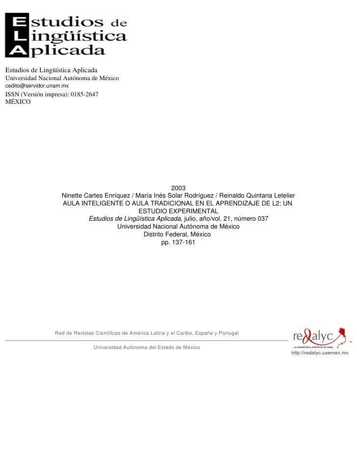 Estudios de Lingüística Aplicada Universidad Nacional Autónoma de México cedito@servidor.unam.mx ISSN (Versión impresa): 0...