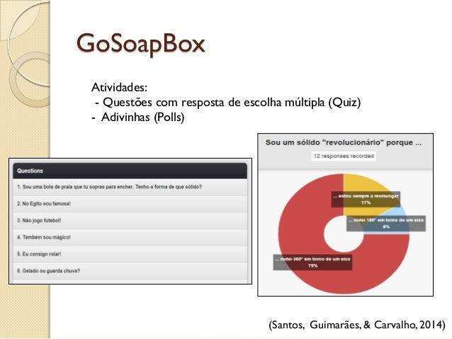 GoSoapBox (Santos, Guimarães, & Carvalho, 2014) Atividades: - Questões com resposta de escolha múltipla (Quiz) - Adivinhas...