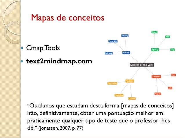 """Mapas de conceitos  Cmap Tools  text2mindmap.com """"Os alunos que estudam desta forma [mapas de conceitos] irão, definitiv..."""