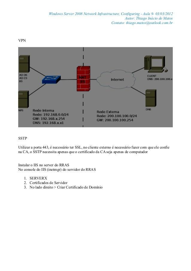 Windows Server 2008 Network Infrastructure, Configuring - Aula 9- 03/03/2012Autor: Thiago Inácio de MatosContato: thiago.m...