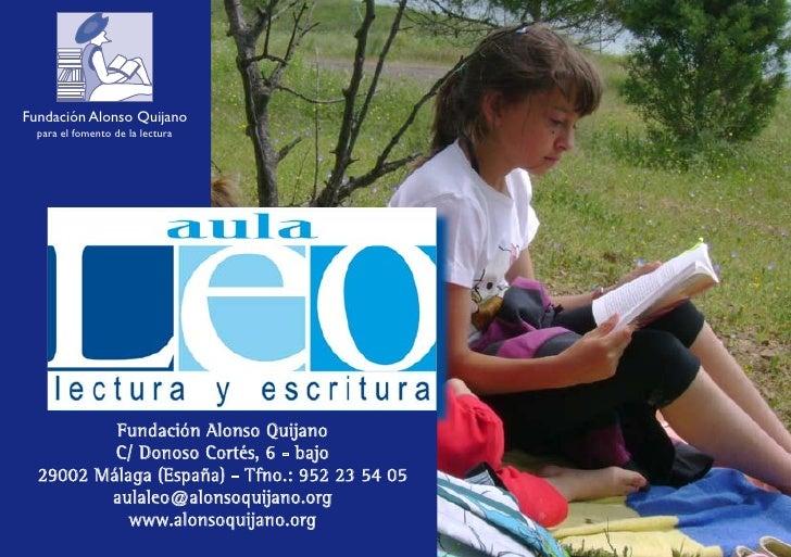 Fundación Alonso Quijano   para el fomento de la lectura               Fundación Alonso Quijano           C/ Donoso Cortés...