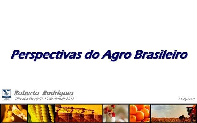 Ribeirão Preto/SP, 19 de abril de 2012 Roberto Rodrigues FEA/USP Perspectivas do Agro Brasileiro