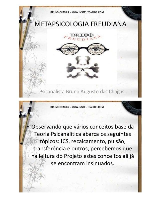 BRUNO CHAGAS – WWW.INSTITUTOARIOS.COM  METAPSICOLOGIA FREUDIANA  Psicanalista Bruno Augusto das Chagas BRUNO CHAGAS – WWW....