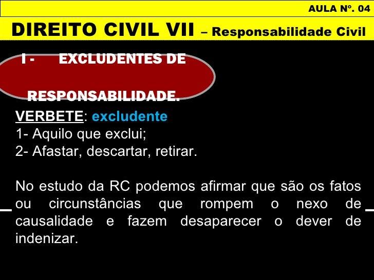 AULA Nº. 04DIREITO CIVIL VII                 – Responsabilidade CivilI-     EXCLUDENTES DE RESPONSABILIDADE.VERBETE: exclu...
