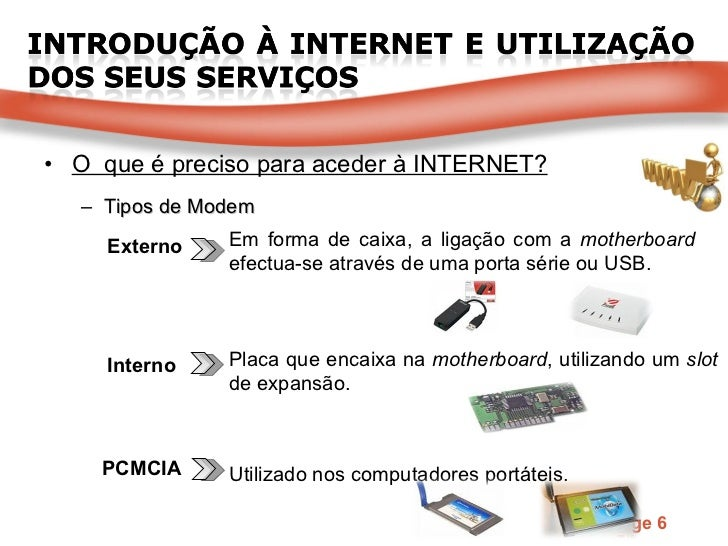 <ul><li>O  que é preciso para aceder à INTERNET? </li></ul><ul><ul><li>Tipos de Modem </li></ul></ul>Interno PCMCIA Extern...
