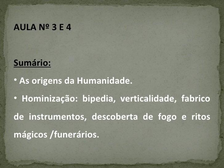 <ul><li>AULA Nº 3 E 4 </li></ul><ul><li>Sumário: </li></ul><ul><li>As origens da Humanidade. </li></ul><ul><li>Hominização...