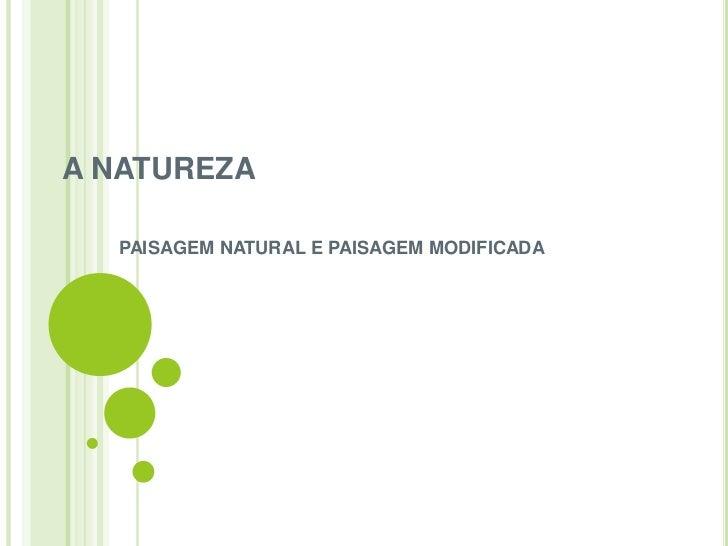 A NATUREZA  PAISAGEM NATURAL E PAISAGEM MODIFICADA