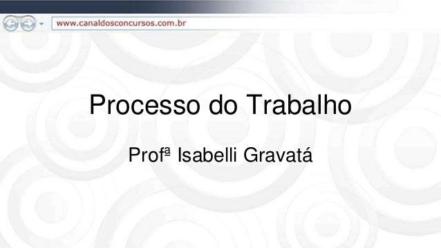 Processo do Trabalho  Profª Isabelli Gravatá