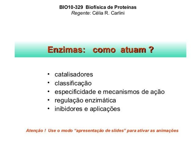 BIO10-329 Biofísica de Proteínas  Regente: Célia R. Carlini  EEnnzziimmaass:: ccoommoo aattuuaamm ??  • catalisadores  • c...