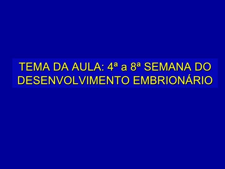 TEMA DA AULA: 4ª a 8ª SEMANA DODESENVOLVIMENTO EMBRIONÁRIO