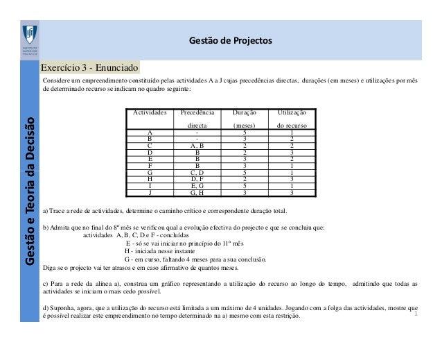 Gestão de Projectos Exercício 3 - Enunciado  Fernando Durão  Considere um empreendimento constituído pelas actividades A a...