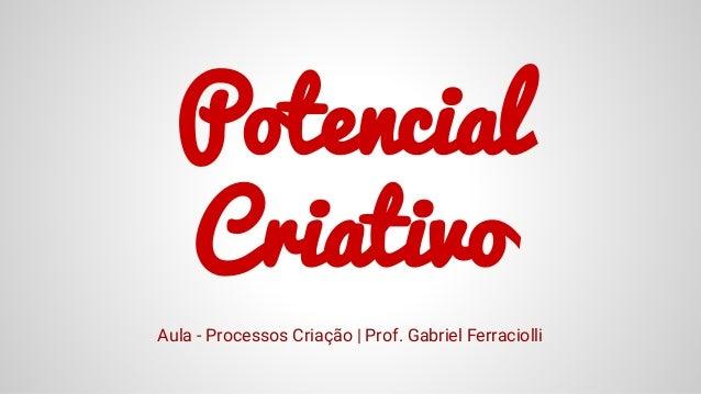 Potencial Criativo Aula - Processos Criação | Prof. Gabriel Ferraciolli