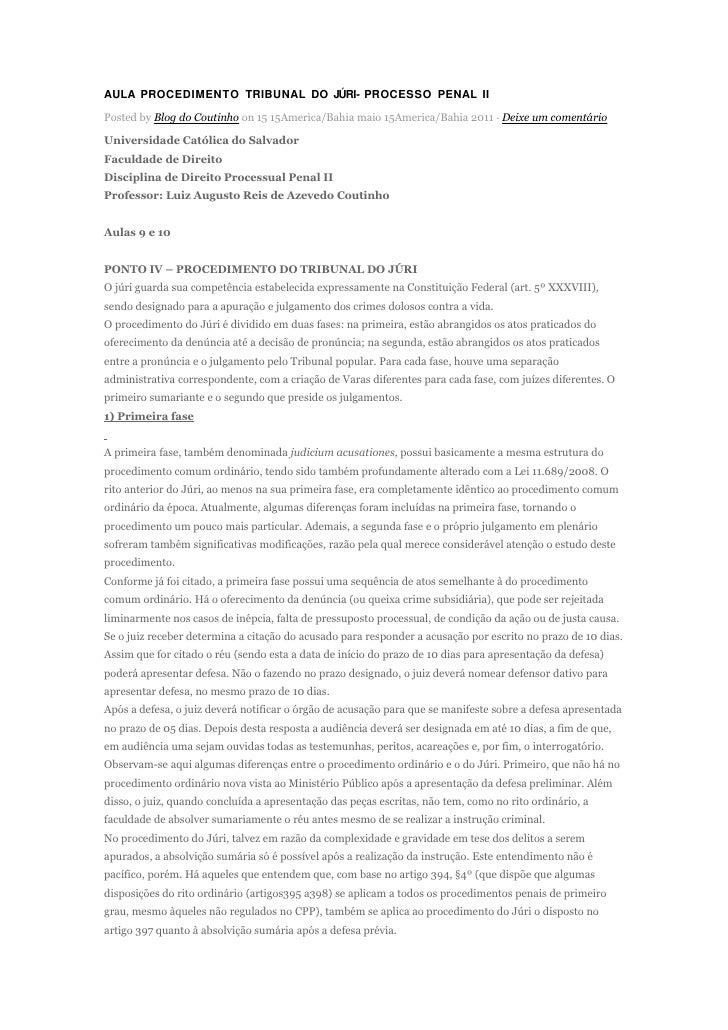 AULA PROCEDIMENTO TRIBUNAL DO JÚRI- PROCESSO PENAL IIPosted by Blog do Coutinho on 15 15America/Bahia maio 15America/Bahia...